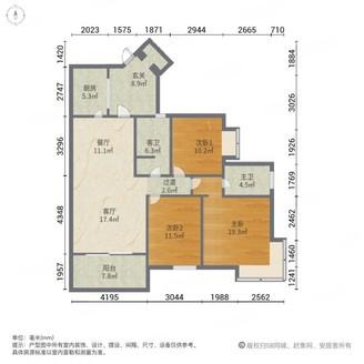 滨江国际豪华装修3室2卫江景房117m带家电