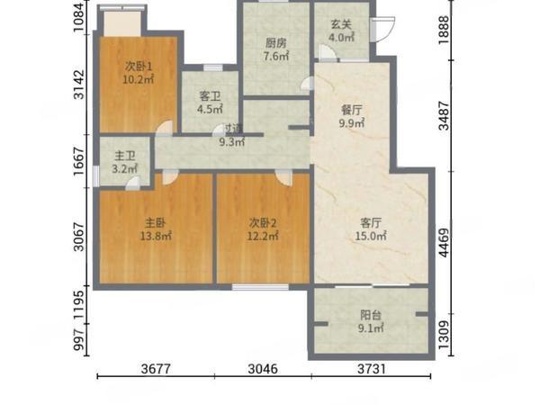 精装修满二住房电梯房66万87平楼层好视野无
